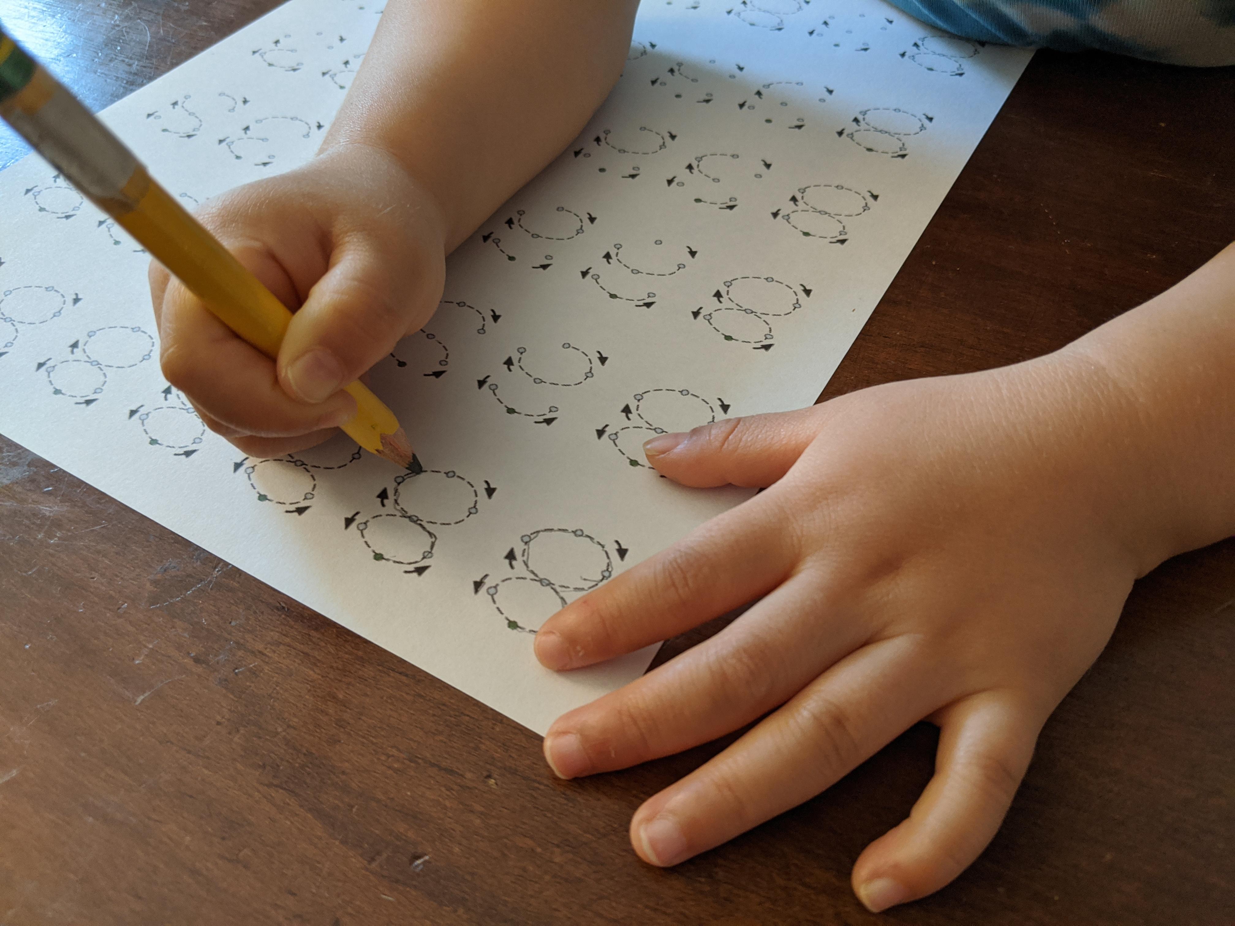 Preschool number writing worksheets